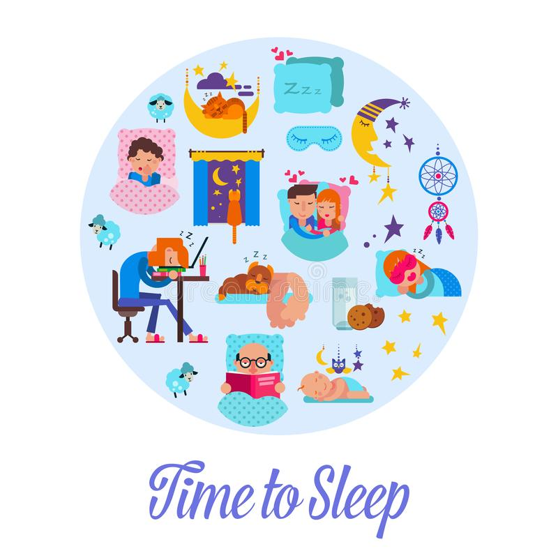 Sleep time flat vector illustration. Cartoon set with sleeping people, alarm clock, pillows and bedroom attributes royalty free illustration