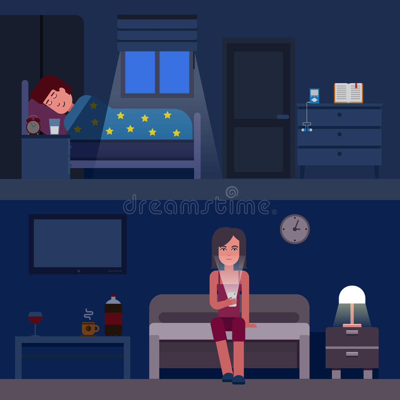 Sleep time infographics vector flat illustration. Infographic How to get better sleep. Insomnia and good sleep flat vector illustration