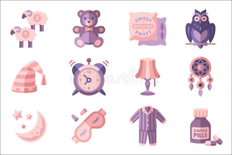 Sleep time set, objects for sleep, good night vector Illustrations in flat style on a white background. Sleep time set, objects for sleep, good night vector vector illustration