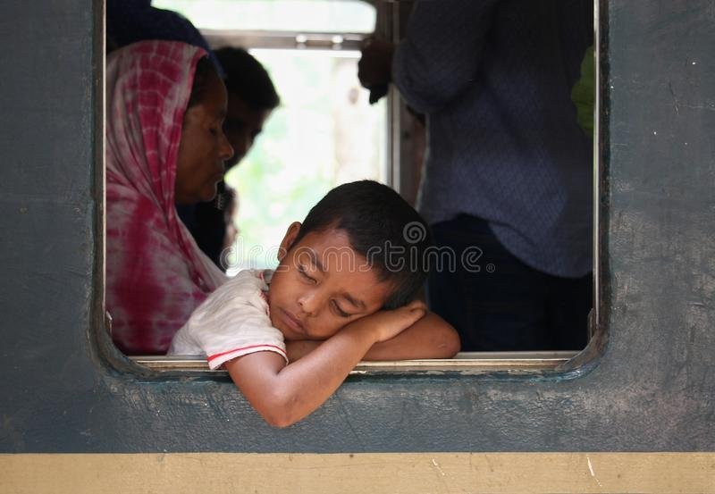 Sleep in train stock photo