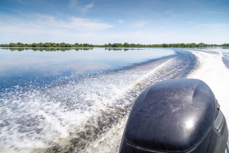 Sleep van mooi water van motorboot in de Delta van Donau, Roemeni? royalty-vrije stock fotografie