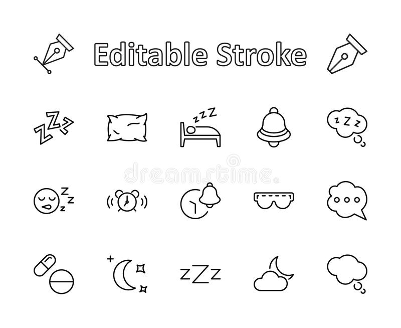 Sleep Vector Line Icons Set. Contains such Icons as Alarm Clock, Bed, Insomnia, Pillow, Sleeping Pills, Bell, Glasses stock images