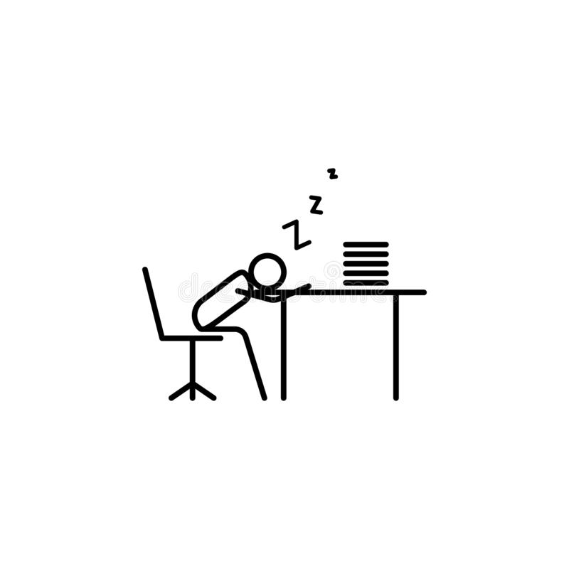 Sleep at work outline icon. Element of lazy person icon for mobile concept and web apps. Thin line icon sleep at work can be used. For web and mobile on white royalty free illustration