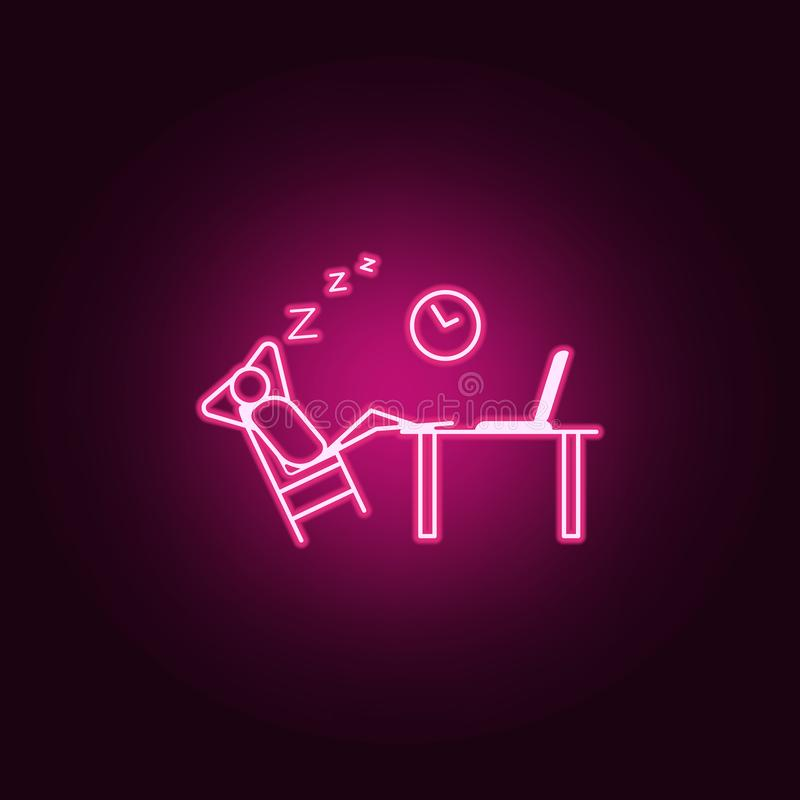 Sleep at work outline icon. Elements of Lazy in neon style icons. Simple icon for websites, web design, mobile app, info graphics. On dark gradient background stock illustration