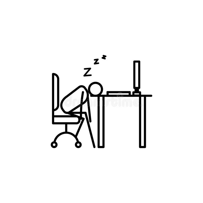 Sleep in workplace outline icon. Element of lazy person icon for mobile concept and web apps. Thin line icon sleep in workplace ca. N be used for web and mobile royalty free illustration