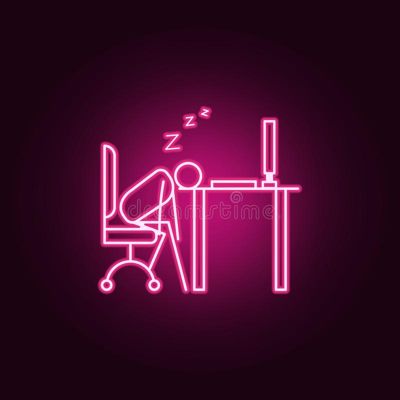Sleep in workplace outline icon. Elements of Lazy in neon style icons. Simple icon for websites, web design, mobile app, info. Graphics on dark gradient royalty free illustration