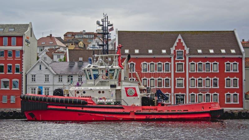 Sleepboot in de haven van Stavanger stock fotografie