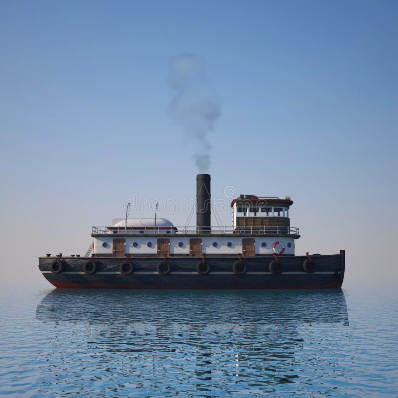 Sleepboot op het water stock fotografie