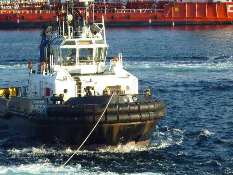 Sleepbootboot in actie royalty-vrije stock afbeelding