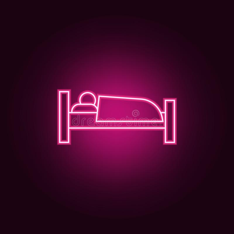 sleeper icon. Elements of hotel in neon style icons. Simple icon for websites, web design, mobile app, info graphics stock illustration