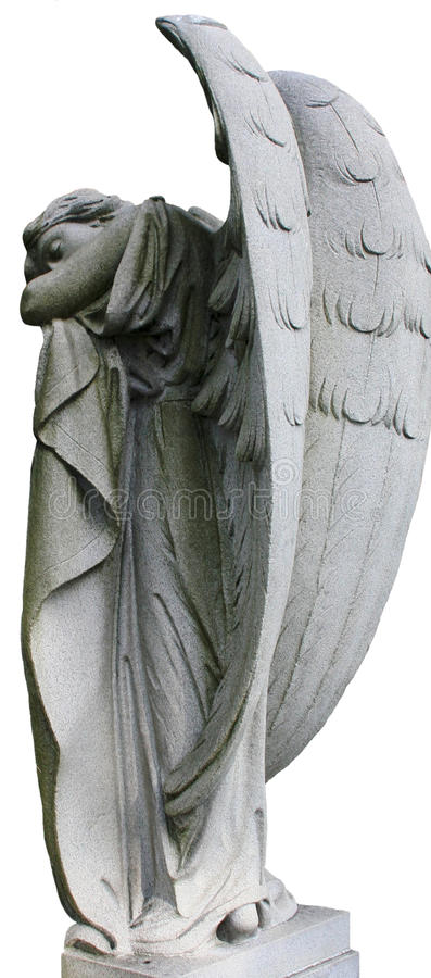 Sleeping Angel. A sleeping angel with her wings high above her head and leaning on a fold of clothe stock photo
