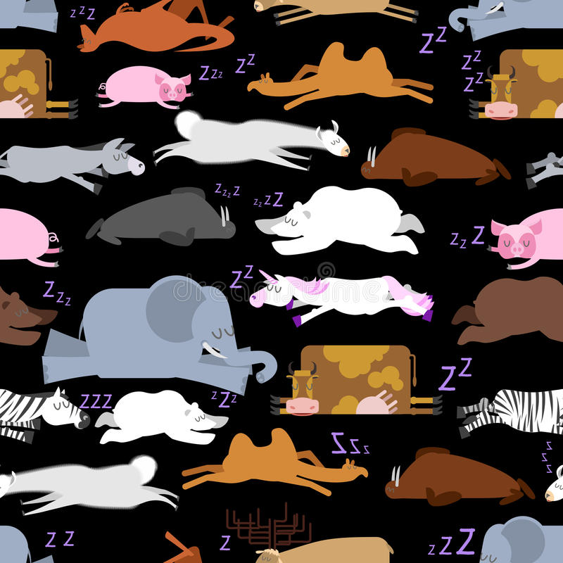 Sleeping animals seamless pattern. Seal and deer. Crocodile and stock illustration