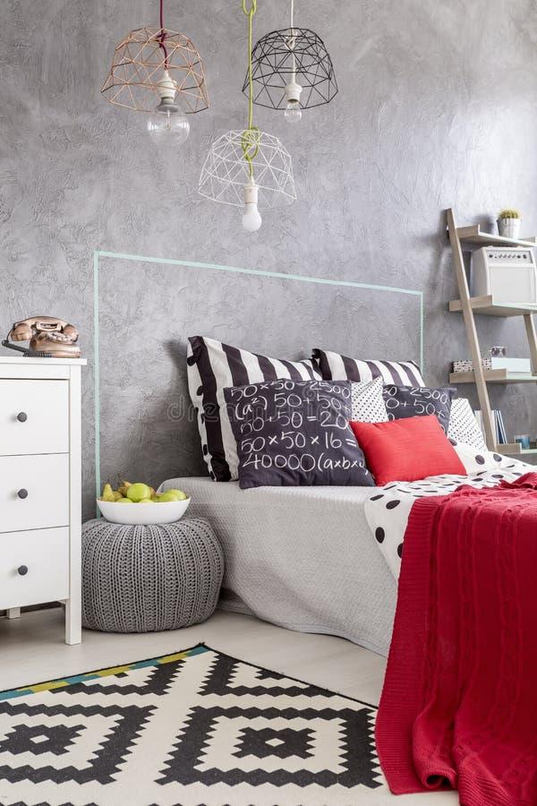 Sleeping area in new style idea stock photo