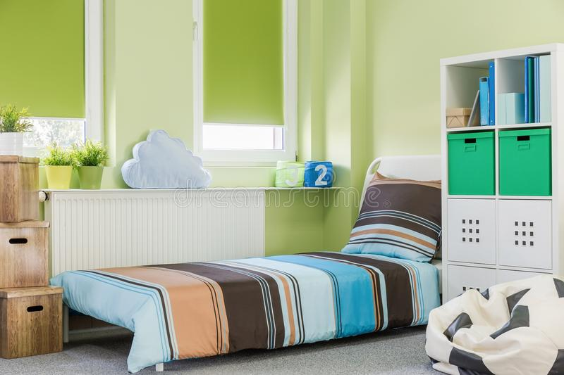 Sleeping area in teenager room. Picture of colorful sleeping area in teenager room stock photography