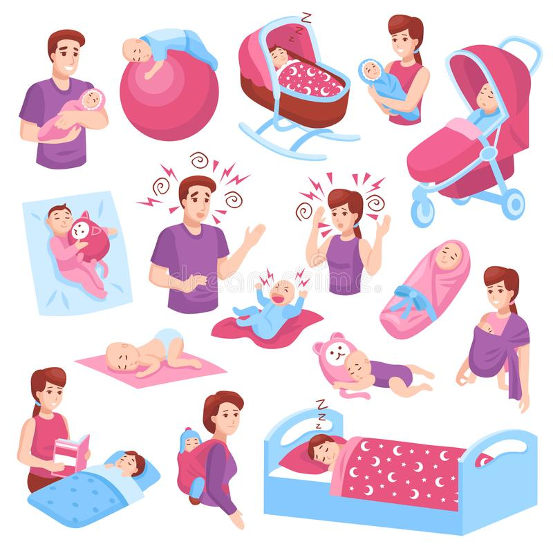 Sleeping Babies Set. Sleeping babies toddlers kids children in crib stroller parents arms pink blue icons collection isolated vector illustration royalty free illustration