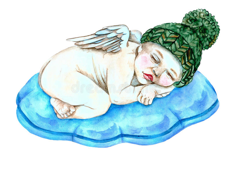 Sleeping baby angel stock photo