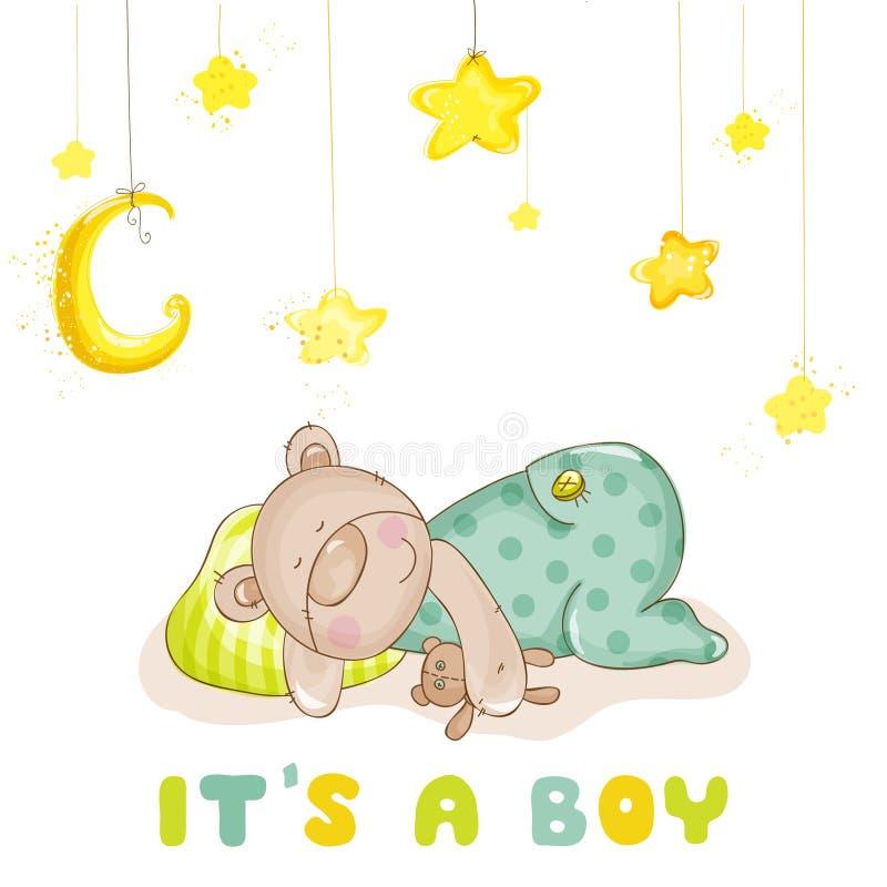 Sleeping Baby Bear and Stars stock illustration