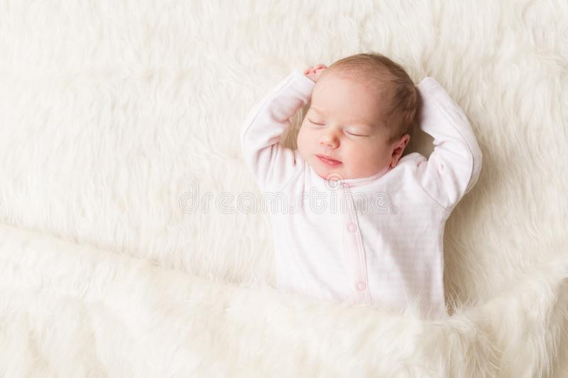 Sleeping Baby, New Born Kid Sleep in Bed, Beautiful Newborn Infant. One month old stock images