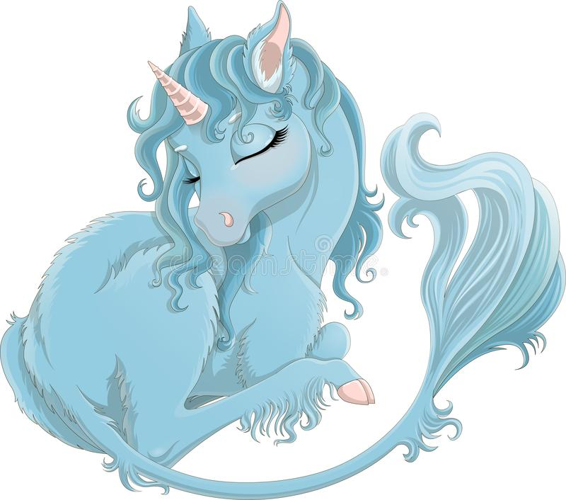 Illustration of cute blue baby unicorn with long tail and pink horn vector illustration