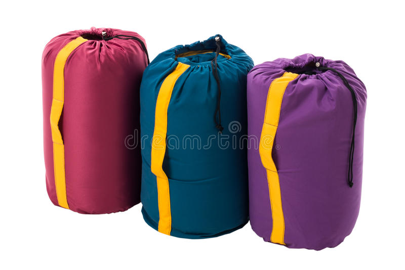 Sleeping Bags isolated on a white background royalty free stock images