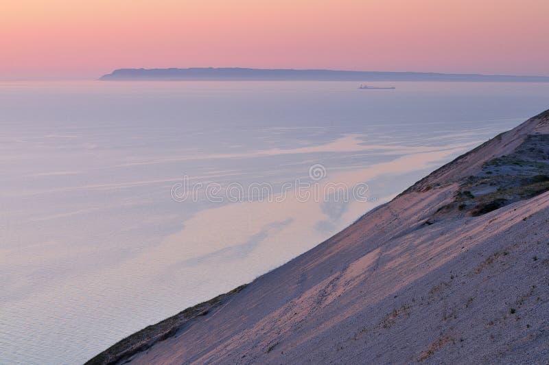 Sleeping Bear Dunes National Lakeshore. Landscape of Lake Michigan, freighter and sand dune Sleeping Bear Dunes National Lakeshore, Michigan, USA royalty free stock image