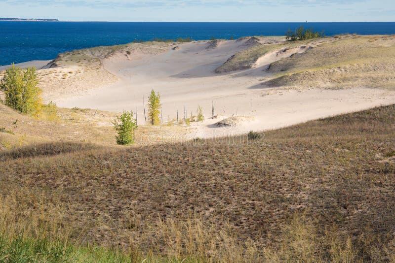 Sleeping Bear Dunes, National Lakeshore, Michigan, Lake. View of Lake Michigan and sand dunes from Sleeping Bear Dunes National Lakeshore in autumn royalty free stock photo