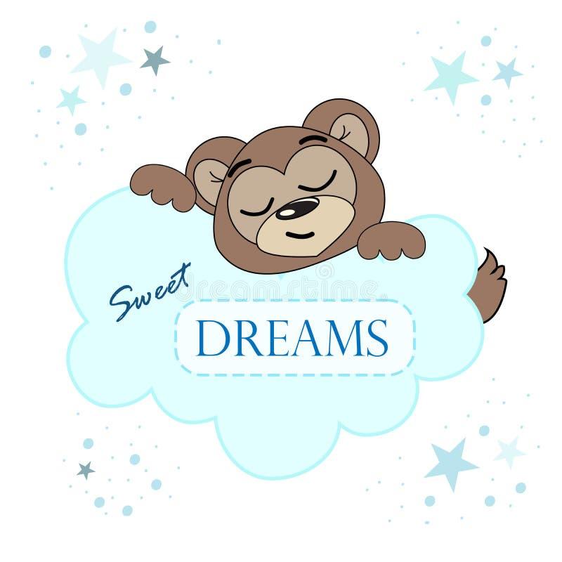 Sleeping bear vector illustration. Cartoon print. royalty free illustration
