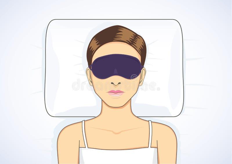 Sleeping in bed with eye mask. Beautiful woman sleeping in bed with eye mask for protect eyes from light make Sleepless royalty free illustration