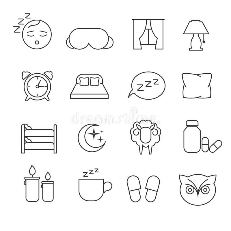 Free Sleeping Bed Time Rest Thin Line Outline Vector Icons Stock Images - 77895714