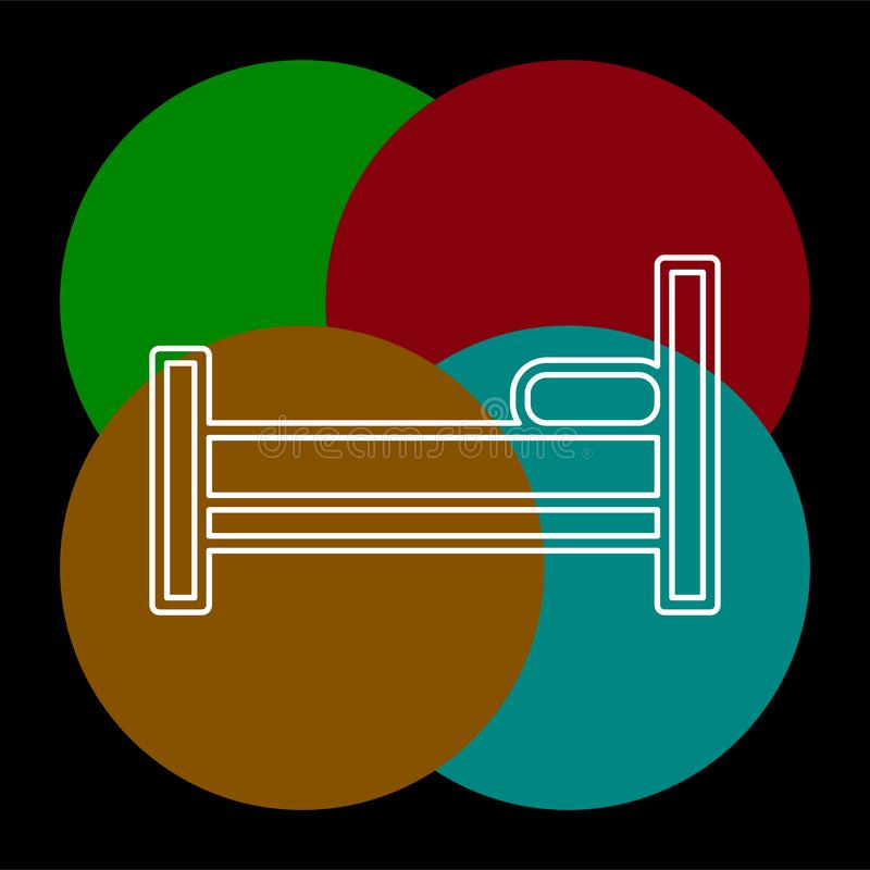 Sleeping bed vector icon. Sleep icon, sleeping bed, hotel sign, hotel icon. Thin line pictogram - outline editable stroke stock illustration