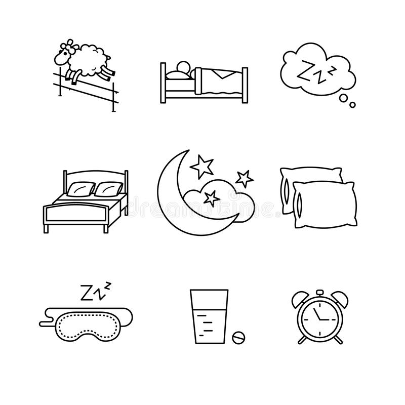 Sleeping, bedtime rest and bed royalty free illustration