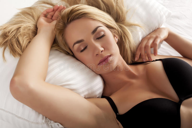 Download Sleeping blond woman. stock image. Image of peaceful - 27089673