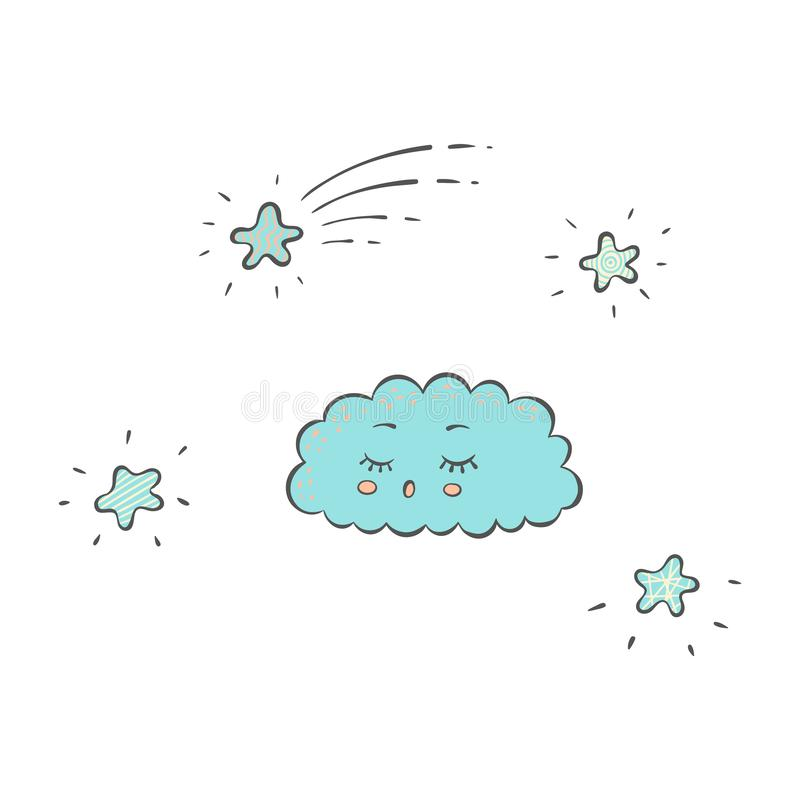 Sleeping blue cloud and sparkling stars in the sky in cartoon hand drawn style royalty free illustration