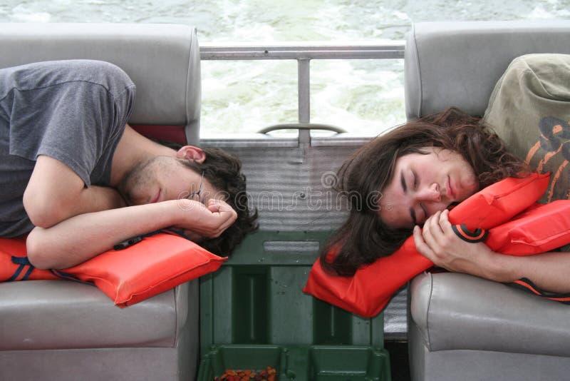 Sleeping on boat royalty free stock photos