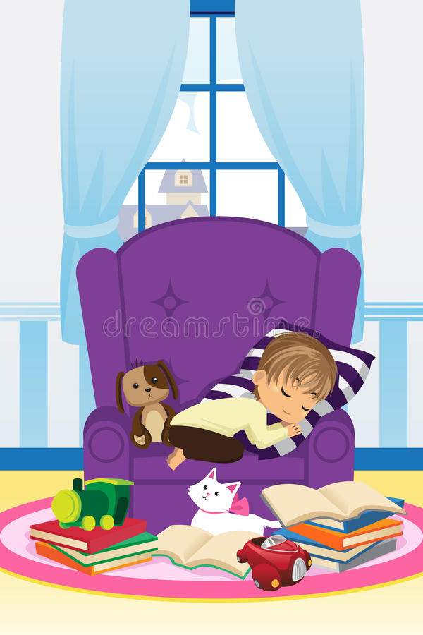 Download Sleeping boy with books stock vector. Image of drawing - 24238496