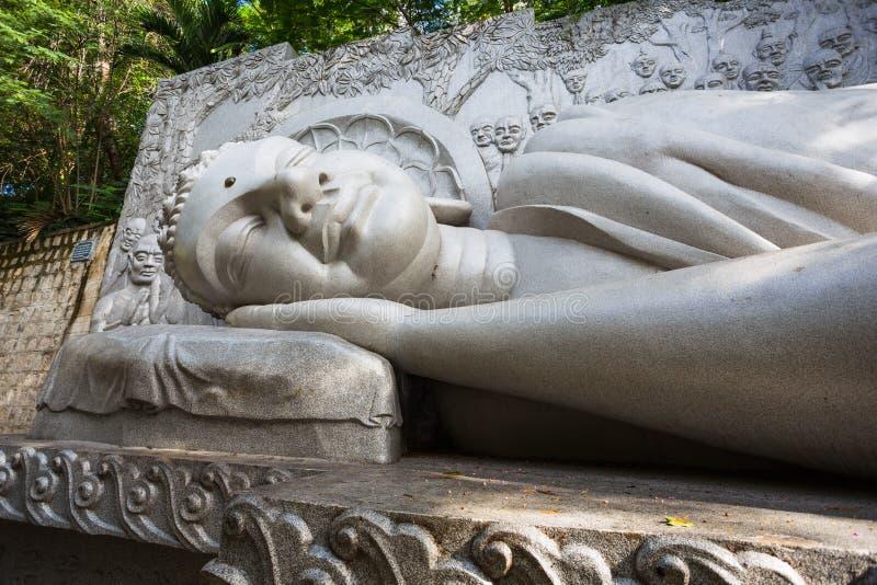 Sleeping Buddha at the Long Son Pagoda in Nha Trang royalty free stock images