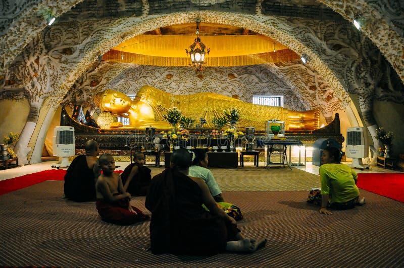 Sleeping Buddha statue in Mandalay. stock photo