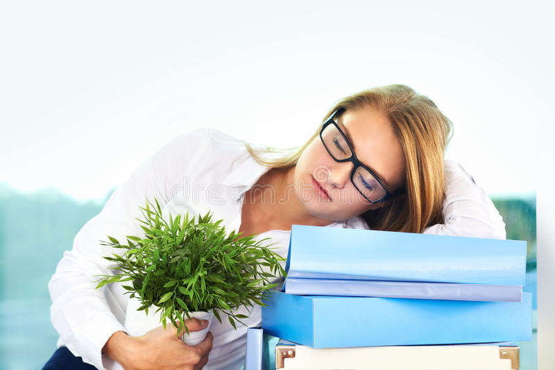 Download Sleeping businesswoman stock image. Image of lady, folder - 32046441