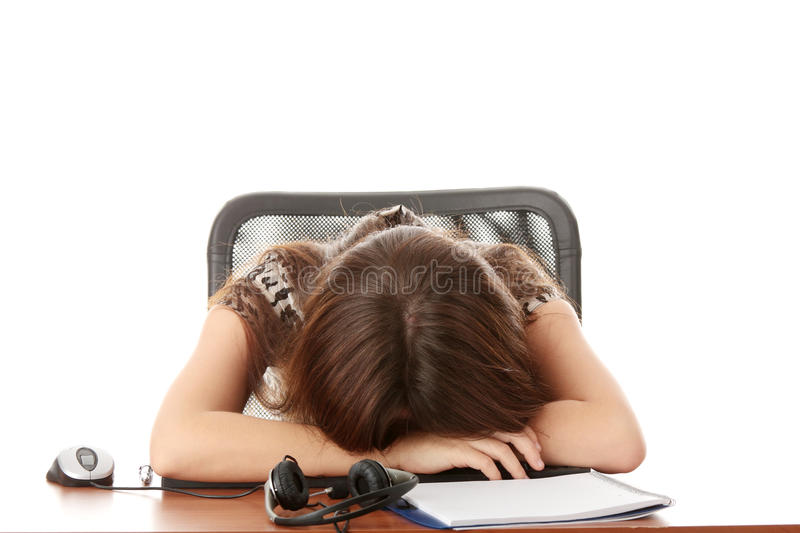 Sleeping in call center royalty free stock photo