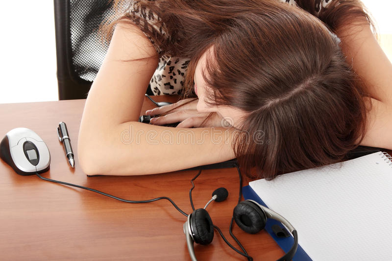 Sleeping in call center stock images
