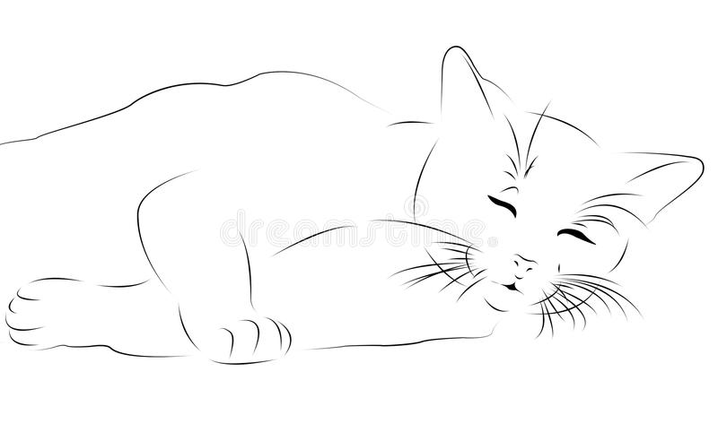 Sleeping cat as line drawing royalty free stock photo