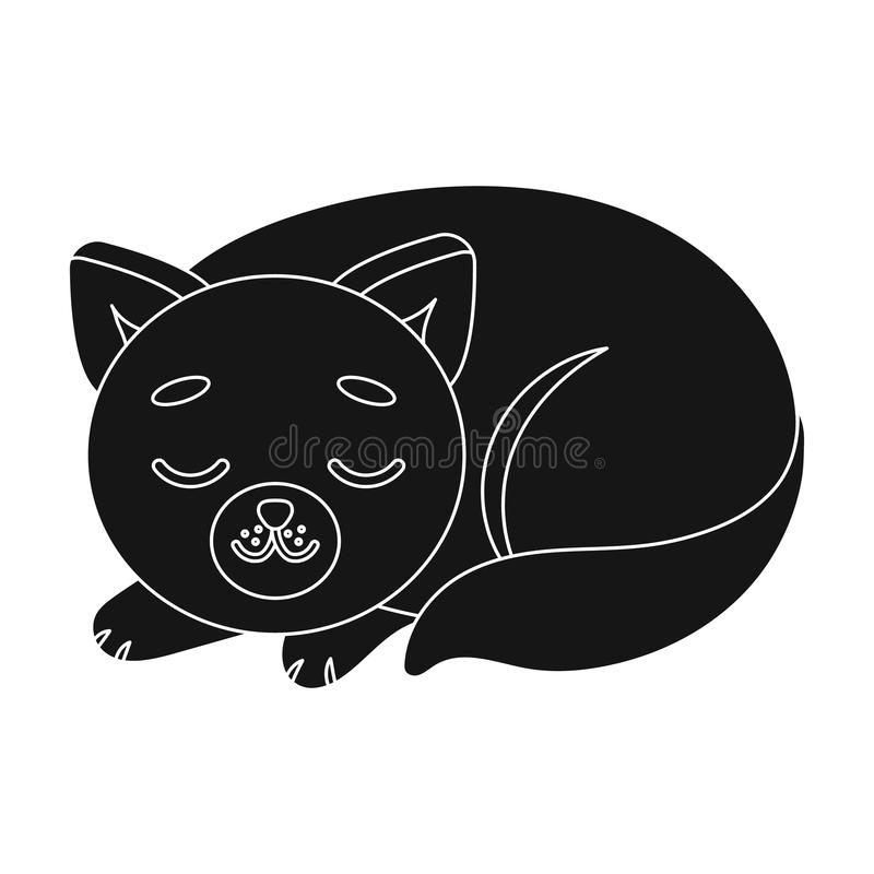Sleeping Cat Icon In Black Style Isolated On White Background Sleep