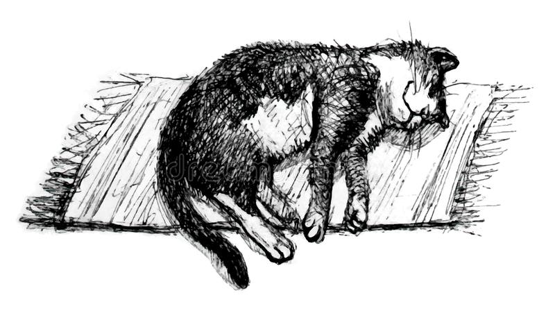 Line Drawing Vector Graphics : Sleeping cat. line art stock illustration. illustration of asleep