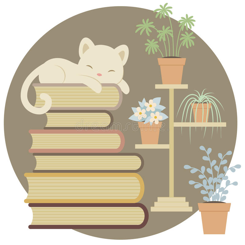 Sleeping cat on a pile of books vector illustration