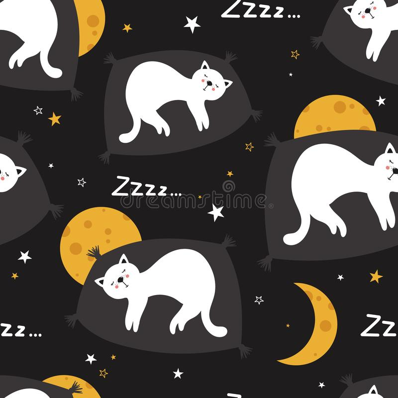 Sleeping cats, decorative cute background. Colorful seamless pattern with animals, moons, stars. Good night royalty free illustration