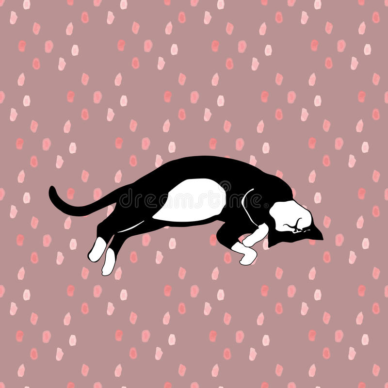 Sleeping cats pattern seamless in vector. royalty free illustration