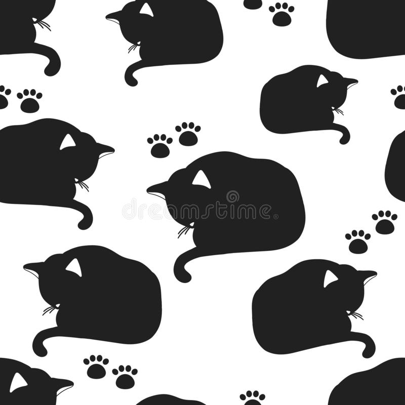Sleeping cats, paw prints, black and white seamless pattern vector illustration