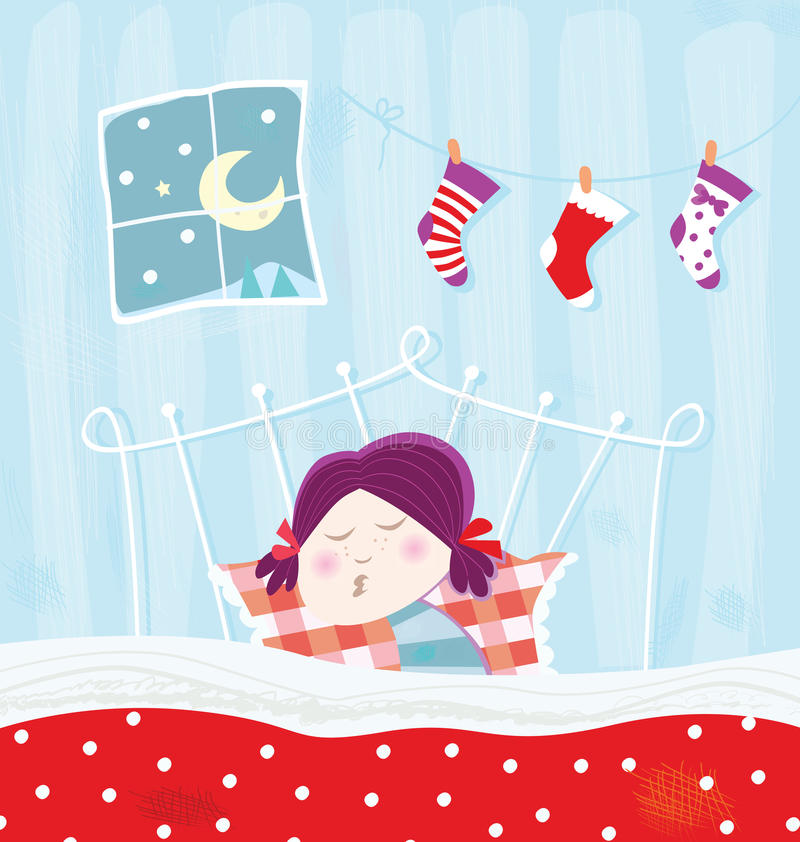 Download Sleeping Child During Christmas Night Stock Vector - Illustration of colorful, celebration: 11240793