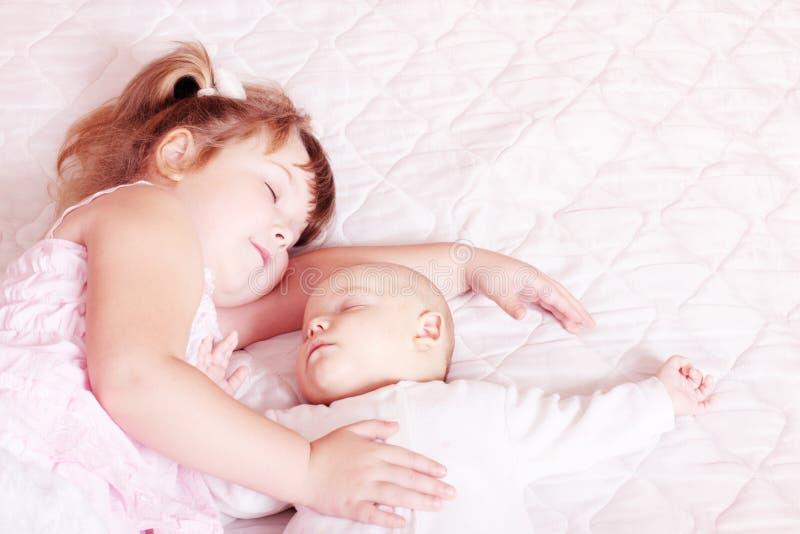 Sleeping children stock photo
