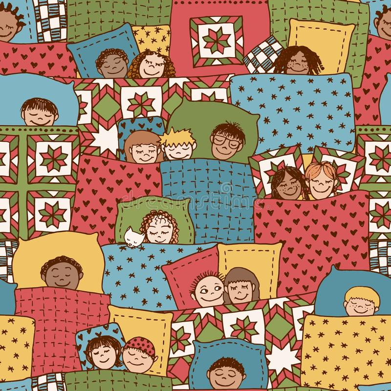 Sleeping children pattern stock illustration